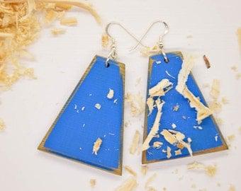 Sapphire Blue, Wooden Earrings, Blue Wood Earrings, Sapphire Earrings, Blue Earrings, Eco Chic Earrings, Eco Friendly, Wood Earrings