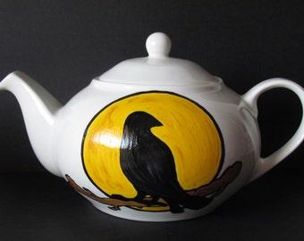 Raven Teapot,Painted Crow, Painted Raven, Painted Teapot,Nevermore Teapot,Raven Tea,Crow Teapot,Blackbird teapot