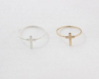 Tiny Cross Ring in Sterling Silver or 14k Gold Filled