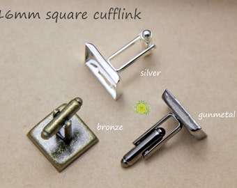 20pcs Cufflink Blanks with 16mm Square Bezel Cup-Square Cufflinks-16mm Cuff Link Bezels-Cuff link Blanks with Square bezel setting