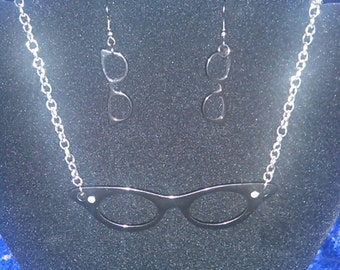 Female Nerd Glasses Necklace and Earring Set