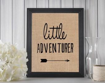 Little Adventurer Burlap Print, Little Adventurer Wall Art, Print, Wall Decor, Nursery Print