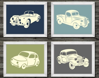 Vintage car and truck decor, vintage nursery decor, car nursery decor, transportation nursery theme, boys car nursery, cars nursery decor