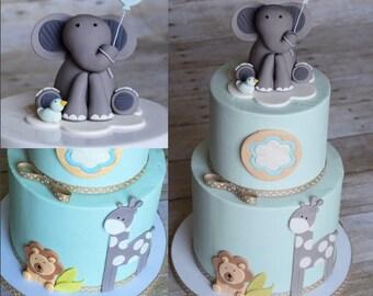 Elephant Cake Topper Gumpaste and Fondant