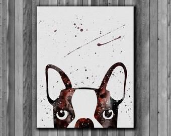Peeking dog watercolor, boston Terrier - Art Print, instant download, Watercolor Print, Printable poster