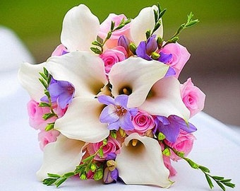 White Calla Lily Pink Roses Wedding Bouquet, Artificial Bridal Flowers