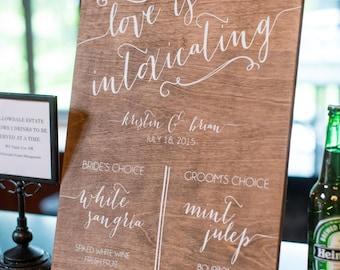 Bar Menu - Signature Drinks - with Swirls - Wooden Wedding Signs - Wood