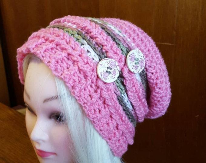 Handmade crochet Camo me Pink Slouchy Hat