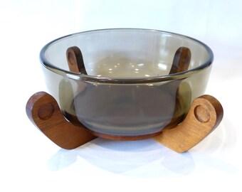 Smoked glass bowl on Wood base - vintage