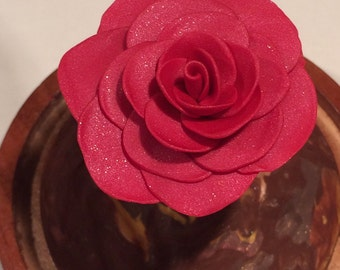 Lovely Shimmering Dark Pink Rose in a Glass dome, Beauty and the Beast Rose, Beauty and the Beast wedding, Fairy Tale, Disney Rose, Pink