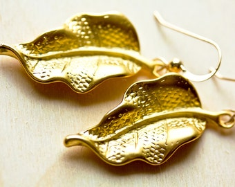 Sweet Natural Leaf 18k Gold Vermeil Earrings