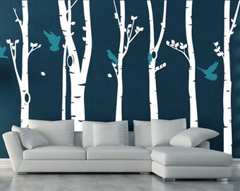 personalized family tree decal vinyl wall decal photo birch tree birds Decals leaf home baby room