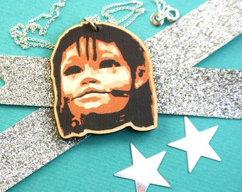 Little Girl Giant Necklace - Wooden Laser Cut Pendant Necklace - Wood Jewellery - Made In Liverpool - Gifts for Her
