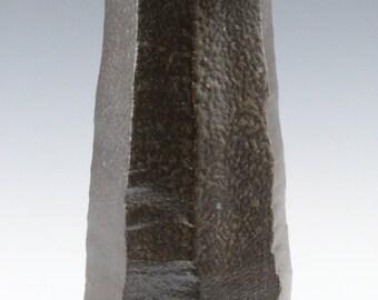 Kazegama Fired, Ash Glazed, Faceted Black Mountain Clay Vase