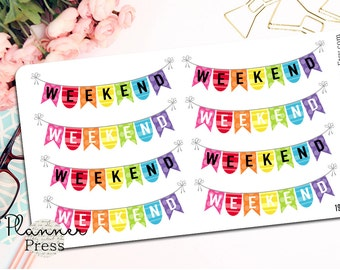 Weekend Banner Planning Reminder Stickers - Fits Erin Condren, KikkiK, Filofax Planners and Midori Notebooks 1962