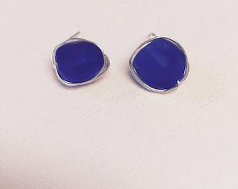 Deep Blue Sea Glass Silver Wire Wrapped Stud Earrings