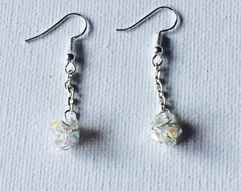 Silver Crochet Wire Crystal Dangling Chain Earrings