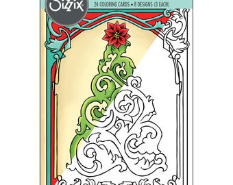 Sizzix Coloring Cards ~ Christmas In Color ~ 8 Designs (3 Each)