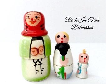 Vintage Nesting Doll, Polish Babushka Dolls, Made In Poland, Miniature Matryoshka Dolls, Matreshka Doll Figurines. Unique Doll