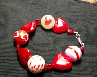 Chuncky beaded heart Bracelet
