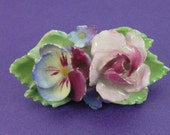 Vintage China Brooch Flower Brooch Rose Brooch Porcelain Brooch Denton China Vintage Gift