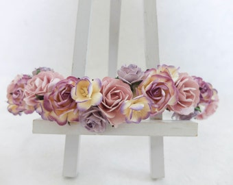 Dusty purple flower crown - rose crown - floral hair wreath - flower headpiece - flower hair accessories