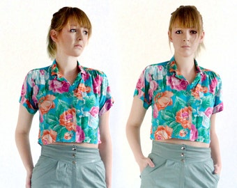 80's vintage crop shirt - top