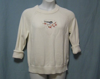 """Vintage Sz M White Sweater with Embroidered Bird and Sparkles, Bust 44"""" Length 27"""", Vintage Misses M White Cotton Sweater"""
