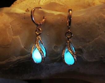 Gold earrings Glow in the dark