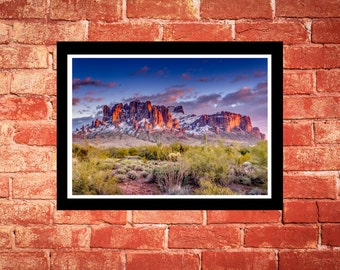 Fine Art Print - Superstition Mountains - with snow - scenic colorful photograph, gift ideas, present, home office wall decor furnishings