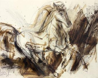 Horse drawing, Giclee art print, Charcoal drawing, Graphic art Sketch, Animal print, Horse Wall art decor, Modern artwork, Charcoal sketch