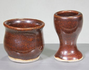 Rustic Miniature Ceramic Bowl and Goblet