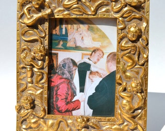 Vintage Picture Frame/ Photo frame, Golden angels picture frame, Angels with musical instruments bas-relief photo frame,