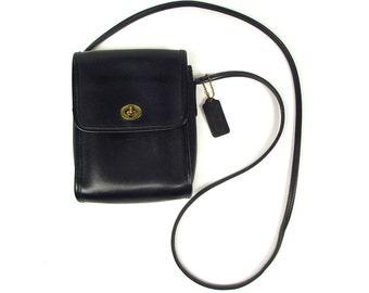 Vintage Coach Black Leather Handbag - Flap Crossbody Shoulder Small - Early 1990s