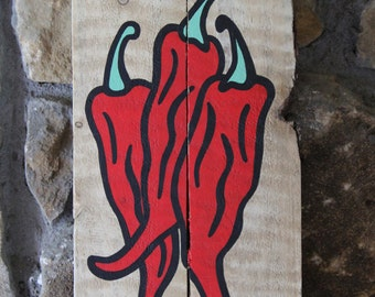 Chili Peppers on Reclaimed Wood Painting