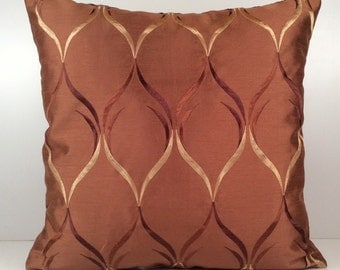 Cinnamon Copper Pillow, Throw Pillow Cover, Decorative Cover, Cushion Cover, Accent Pillow, Silk Blend, Light Tan and Brown Silk Embroidery
