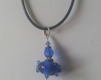 Leather necklace,  blue beaded necklace,  blue beads, glass beads, blue glass beads