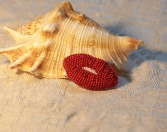 Czech Glass Beads Handmade Sweetest Red Lips Beaded Pin Gift for her