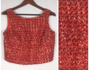 Vintage 60s shell top / 1960s shell top /  1960s top / lipstick red / sequin top / shell top / evening tank / flapper fringe top