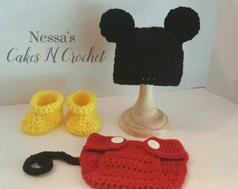 Newborn Mickey Mouse baby set, Photo prop, Halloween costume,  hat, diaper cover