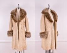 Summer Sale: 60s Shearling Fur Coat With Fox Fur Collar & Cuffs