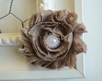 Flower Girl Hair Clip, Taupe, Mocha, Hair Clip, Toddler, Girls, Taupe Flower Clip, Spring Hair Clip, Fall, Autumn, Shabby Chic