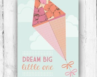 Dream Big Little One, Kite, Vintage Inspired, Nursery, Playroom, Wall Print