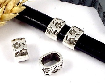 10 past leather silver plated leather regaliz flowers