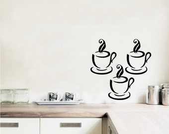 3X Coffee Tea Cup Cool Decor For Bedroom Removable Vinyl Wall Sticker Instrumen art C8