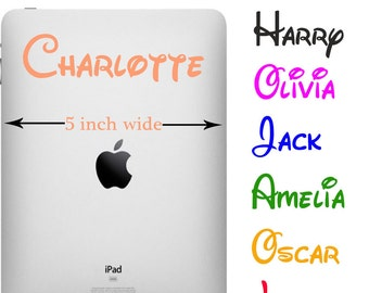 Personalised Any Boy  or Girl Name Sticker for Tablet or iPad -Vinyl Decal N6