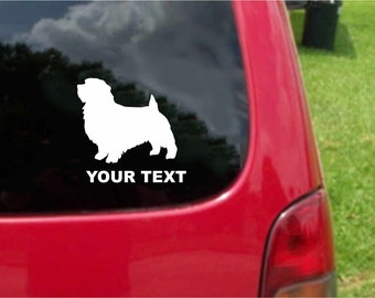 Set (2 Pieces) Norfolk Terrier  Dog  Sticker Decals with custom text 20 Colors To Choose From.  U.S.A Free Shipping