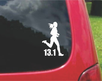 Set (2 Pieces) 13.1 Half Marathon Run Girl Runner  Sticker Decals 20 Colors To Choose From.  U.S.A Free Shipping