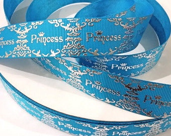 7/8 inch PRINCESS - Silver Foil Damask - TURQUOISE - Stunning - Printed Grosgrain Ribbon for Hair Bow