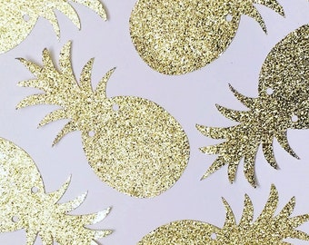 Gold Glitter Pineapple Banner | Garland | Party Decoration, Luau, Aloha